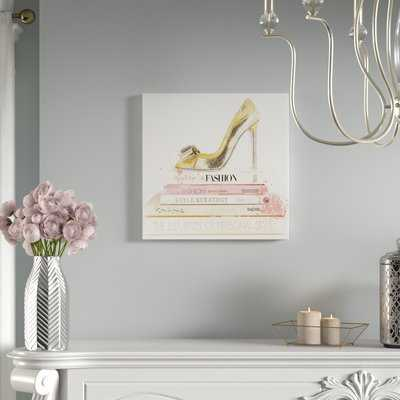'Gold Shoe and Blush Books' Textual Art on Canvas - Wayfair