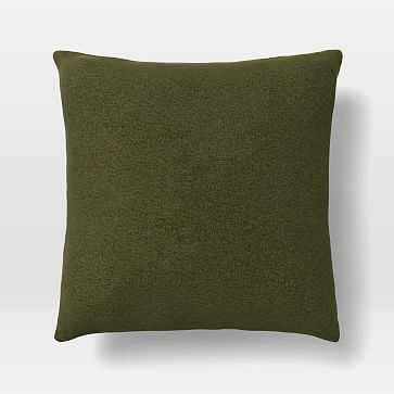 "Upholstery Fabric Pillow Cover, 20""x 20"" Pillow, Distressed Velvet, Olive - West Elm"