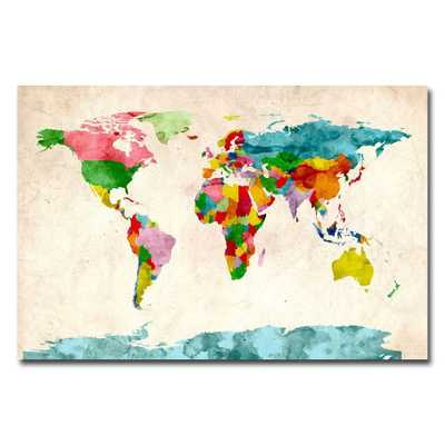 22 in. x 32 in. Watercolor World Map Canvas Art, Multi - Home Depot