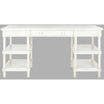 Safavieh Dixon White Washed Desk with Drawer and 4-Shelves - Home Depot
