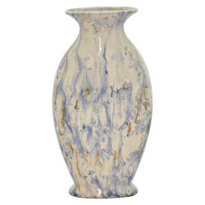 THREE HANDS 15 in. Blue Ceramic Vase - Home Depot
