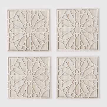 Graphic Wood Wall Art, Whitewashed, Square, Set of 4 - West Elm