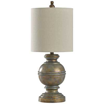 Girona Blue Table Lamp with White Styrene Shade - Style # 60W69 - Lamps Plus