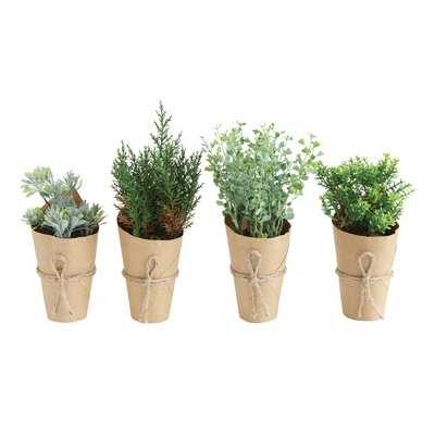 4 Piece Artificial Indoor Mini Desktop Plants in Paper Wrapped Pot - Birch Lane