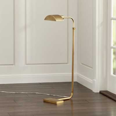 Theorem Aged Brass Floor Lamp - Crate and Barrel