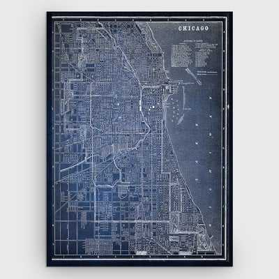 'Chicago Sketch Map' Graphic Art Print on Wrapped Canvas in Blue - Wayfair