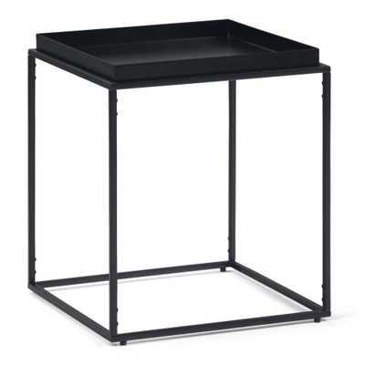 Simpli Home Garner Black Tray Top End Table - Home Depot