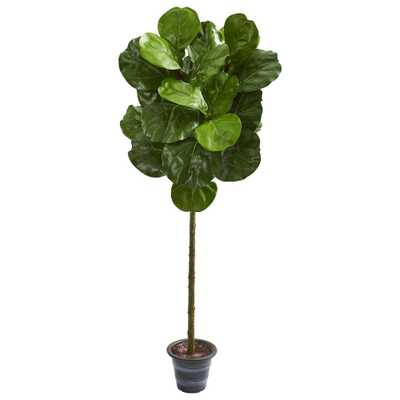 Nearly Natural Indoor 4-Ft. Fiddle Leaf Artificial Tree With Decorative Planter - Home Depot