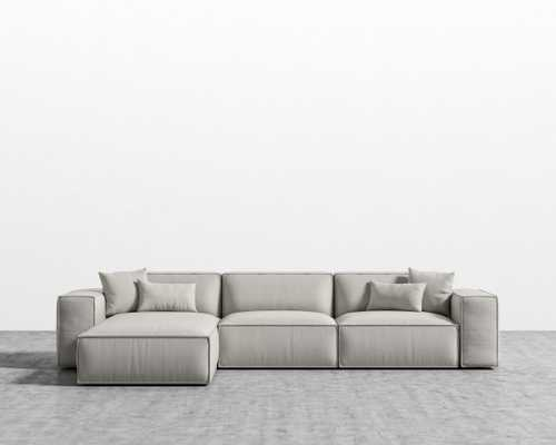 Porter Sectional - Oyster Black Plastic Right-hand-facing - Rove Concepts