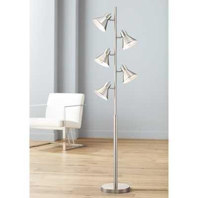 Luken Brushed Nickel Adjustable 5-Light Tree Floor Lamp - Style # 71G68 - Lamps Plus