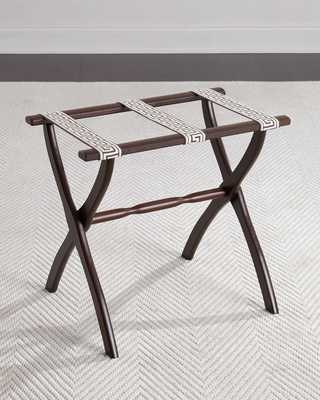 Luggage Rack with Greek Key Detailing, Chocolate - Horchow