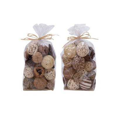 2 Piece Natural Decorative Ball Bag Set - Wayfair