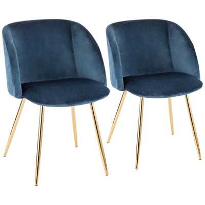 Fran Gold Metal and Blue Velvet Dining Chairs Set of 2 - Style # 60G32 - Lamps Plus