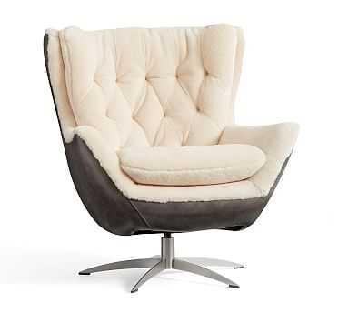 Wells Leather Swivel Armchair with Shearling, Polyester Wrapped Cushions, Burnished Walnut - Pottery Barn
