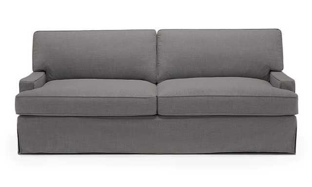 Gray Presley Mid Century Modern Slipcover Sofa - Bentley Pewter - Mocha - Joybird