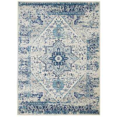 Nourison Tranquil TRA06 Blue and White 6'x9' Persian Area Rug, Ivory/Blue - Home Depot