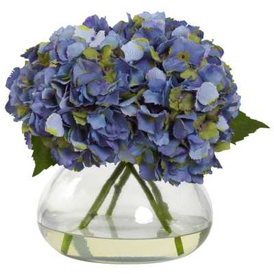 Large Blooming Hydrangea with Vase - Home Depot