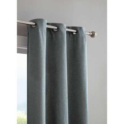Bella Luna Henley Faux Linen Room Darkening 76 in. x 96 in. Grommet Curtain Panel Pair in Dusty Blue - Home Depot