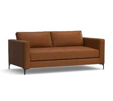 "Jake Leather Loveseat 70"", Down Blend Wrapped Cushions, Leather Signature Maple - Pottery Barn"