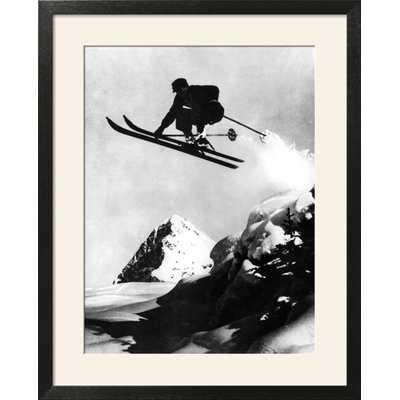 'Flying Skier!' Framed Graphic Art Print' Framed Graphic Art Print - Wayfair