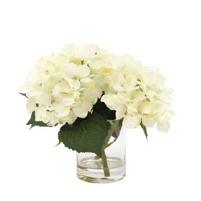 White Hydrangea Floral Arrangement in Glass Vase - AllModern
