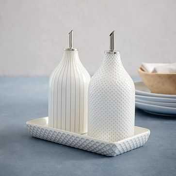 Textured Oil + Vinegar Set, White, Dots - West Elm