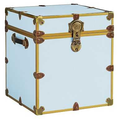 Canvas Dorm Trunk with Rubbed Brass Trim, Cube, Light Denim - Pottery Barn Teen