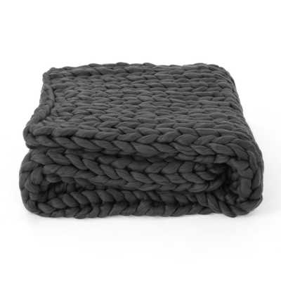 Marnie Dark Grey Acrylic Throw Blanket - Home Depot