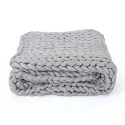 Marnie Grey Acrylic Throw Blanket - Home Depot