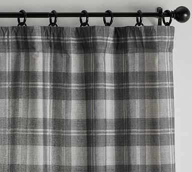 "Turner Plaid Print Curtain, Gray Multi, 96 x 50"" - Pottery Barn"