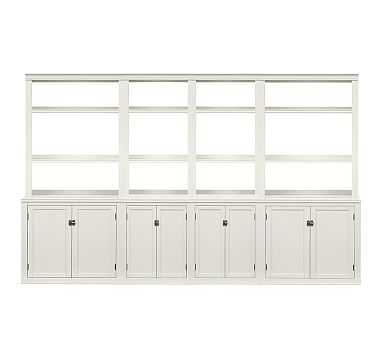 Logan Medium Wall Suite with Open Shelving, Antique White - Pottery Barn