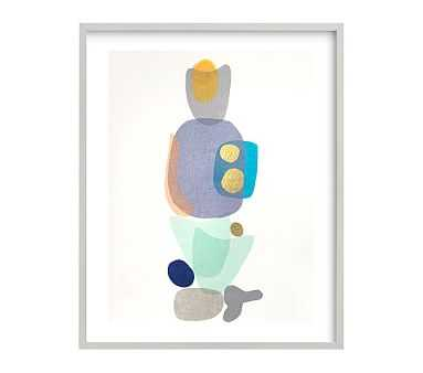 west elm x pbk Navy Blue Gold Totem Wall Art by Minted(R), Grey, 16x20 - Pottery Barn Kids