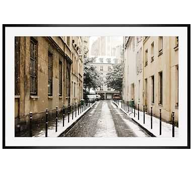 "Snow Covered Streets in Paris Framed Print by Rebecca Plotnick, 42 x 28"", Wood Gallery Frame, Black, Mat - Pottery Barn"