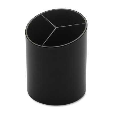 "Large Pencil Cup, 3 Compartments, 3""x3""x4-1/8"", Black - Wayfair"