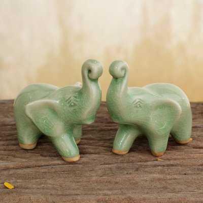 Zythum Lucky Elephants Hand Crafted Ceramic Figurine - Wayfair