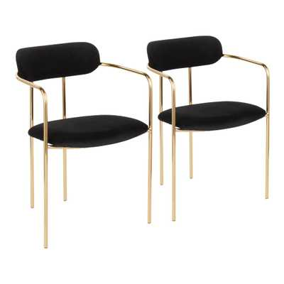 Lumisource Demi Gold and Black Velvet Dining Chair (Set of 2) - Home Depot