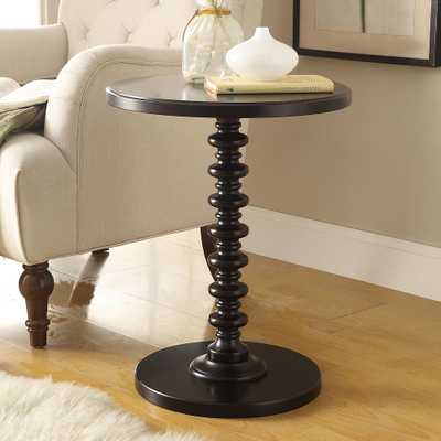 "Acton 17"" Wide Black Round Pedestal Wood Side Table - Style # 73C98 - Lamps Plus"