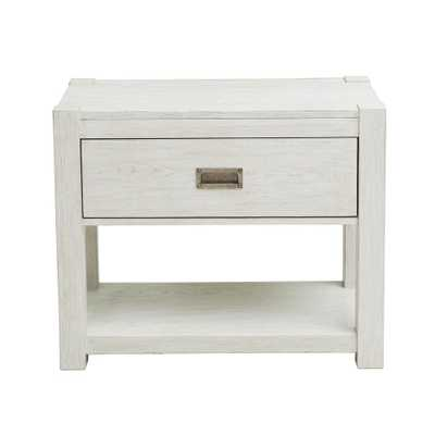 HomeFare Modern Farmhouse White Nightstand - Home Depot