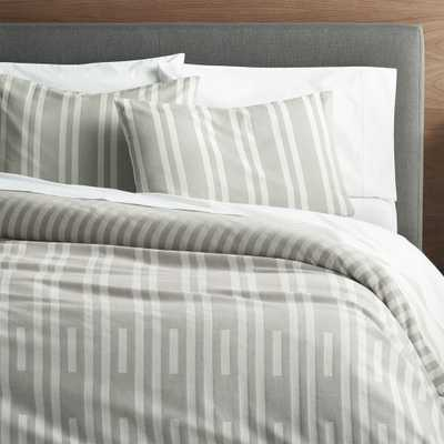 Rhesi Full/Queen Grey and White Duvet Cover - Crate and Barrel