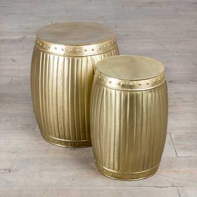 Fluted Barrels 2 Piece End Table Set - Wayfair