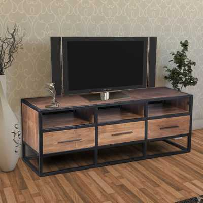 The Urban Port Brown and Black Spacious Acacia Wood TV Console with Metal Frame - Home Depot