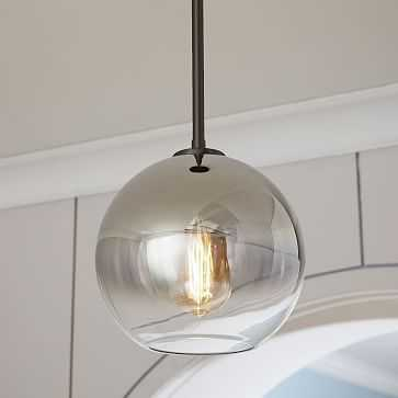 Sculptural Glass Globe Pendant, Small Globe, Silver Ombre Shade, Bronze Canopy - West Elm