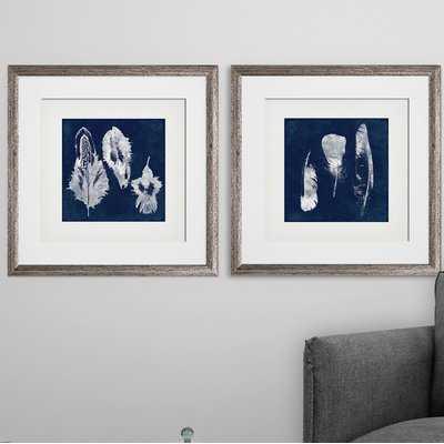 'Cyanotype Feather' 2 Piece Framed Graphic Art Print Set - Birch Lane