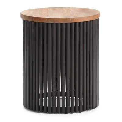 Demy Natural and Black Metal/Wood Accent Table - Home Depot