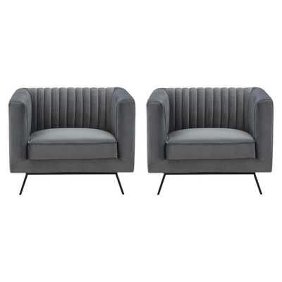 Manhattan Comfort Vandam Charcoal Grey Velvet Armchairs (Set of 2) - Home Depot