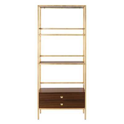 Safavieh Mateo Gold/Walnut (Gold/Brown) 4-Tier 1-Drawer Etagere - Home Depot