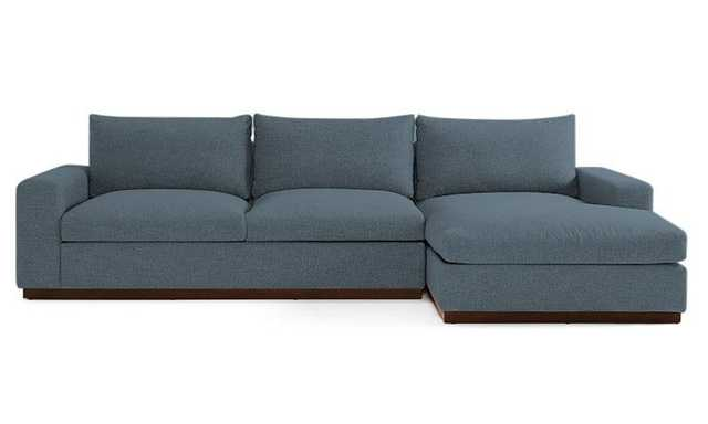 Blue Holt Mid Century Modern Sectional with Storage - Mixology Indigo - Mocha - Left - Joybird