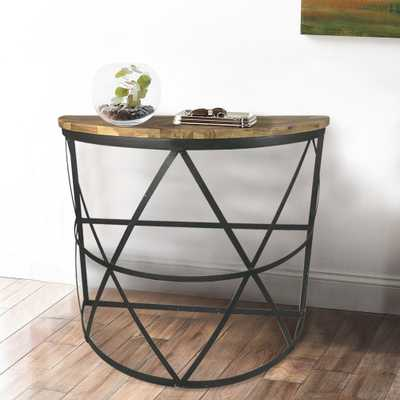 Industrial Reclaimed Wood Demilune Console Table, Black - Home Depot