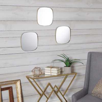 Dorado Rounded Gold Mirror Set of 3 - Home Depot