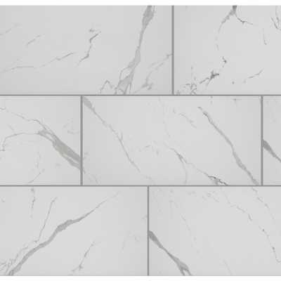 Florida Tile Home Collection Carrara Matte Rectified 12 in. x 24 in. Porcelain Floor and Wall Tile (13.3 sq. ft. /case), Ivory/Grey - Home Depot